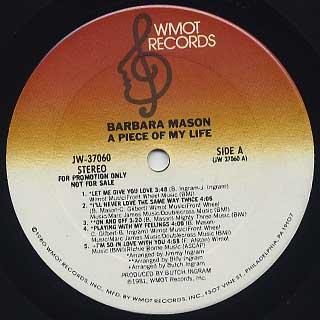Barbara Mason / A Piece Of My Life label