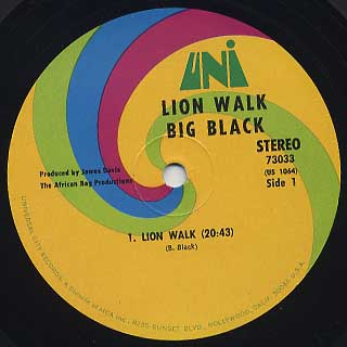 Big Black / Lion Walk label