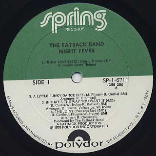 Fatback Band / Night Fever label