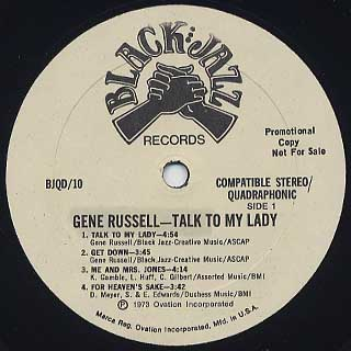 Gene Russell / Talk To My Lady label