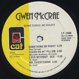 Gwen McCrae / Something So Right label