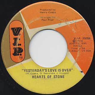 Hearts Of Stone / It's A Lonesome Road c/w Yesterday's Love Is Over back
