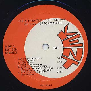 Ike & Tina Turner / Festival Of Live Performances label