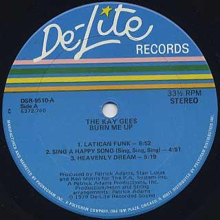 Kay Gees / Burn Me Up label