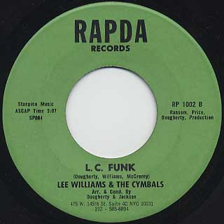 Lee Williams & The Cymbals / What Am I Guilty Of c/w L.C. Funk back