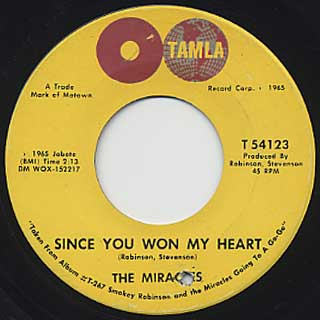 Miracles / My Girl Has Gone c/w Since You Won My Heart back