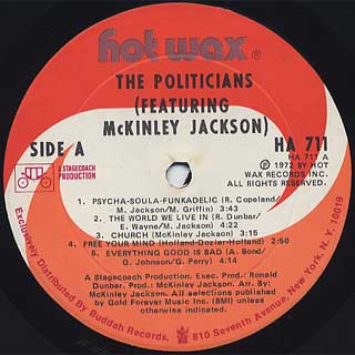 Politicians Featuring McKinley Jackson / S.T. label