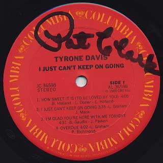 Tyrone Davis / I Just Can't Keep On Coming label