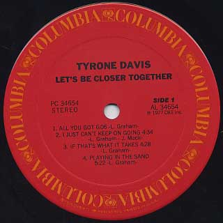 Tyrone Davis / Let's Be Closer label