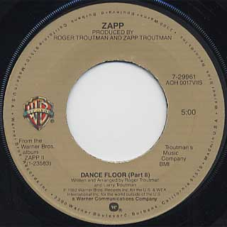 Zapp Dance Floor Part I C W Part Ii 7inch Warner