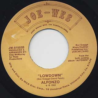 Alfonzo / Girl, You Are The One c/w Lowdown back