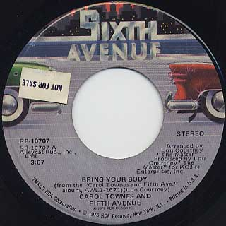 Carol Townes And Fifth Avenue / Bring Your Body back