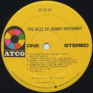 Donny Hathaway / The Best Of label