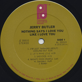 Jerry Butler / Nothing Says I Love You Like I Love You label