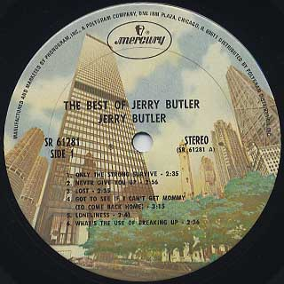Jerry Butler / The Best Of Jerry Butler label