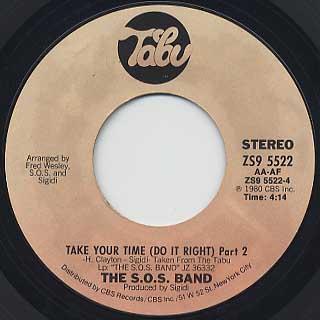 S.O.S. Band / Take Your Time (Do It Right) Part I c/w Part II back