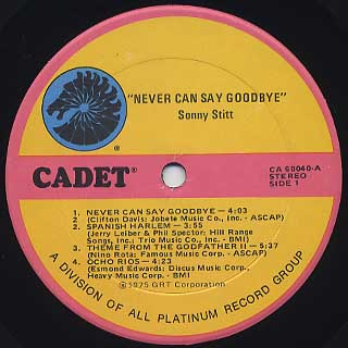 Sonny Stitt / Never Can Say Goodbye label