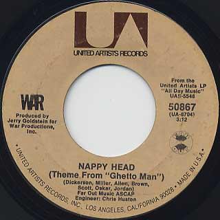 War / Slippin' Into Darkness c/w Nappy Head back