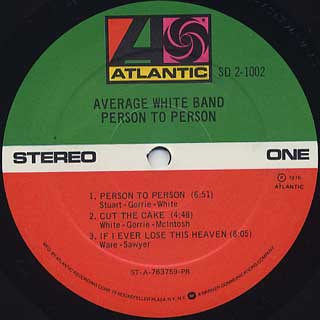 Average White Band / Person To Person label