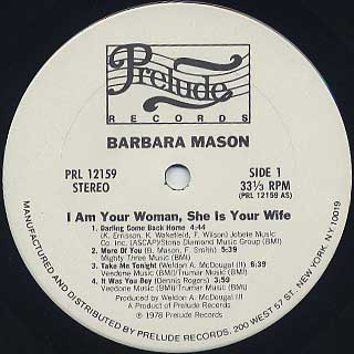 Barbara Mason / I Am Your Woman, She Is Your Wife label