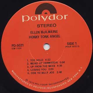 Ellen Mcilwaine / Honky Tonk Angel label