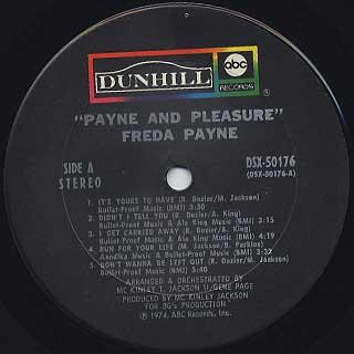 Freda Payne / Payne And Pleasure label