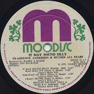 Gladstone Anderson & Mudies All Stars / It May Sound Silly label