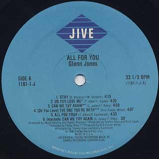 Glenn Jones / All For You label