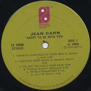 Jean Carn / Happy To Be With You label