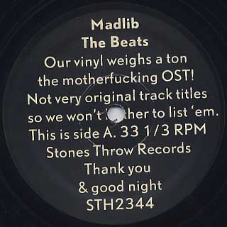 Madlib / The Beats - Our Vinyl Weights a Ton OST label