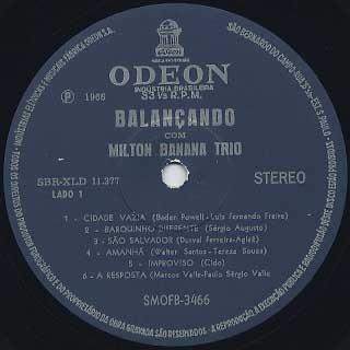 Milton Banana Trio / Balancando label
