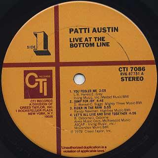 Patti Austin / Live at The Bottom Line label