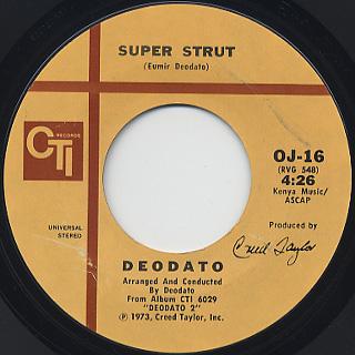 Deodato / Rhapsody In Blue c/w Super Strut back