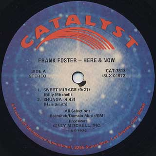 Frank Foster / Here And Now label