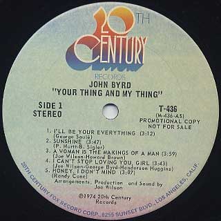 John Byrd / Your Thing And My Thing label