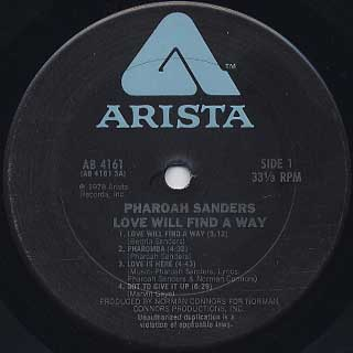 Pharoah Sanders / Love Will Find A Way label