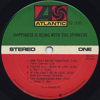 Spinners / Happiness Is Being With The Spinners label