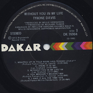 Tyron Davis / Without You In My Life label