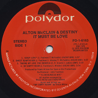 Alton McClain & Destiny / It Must Be Love label