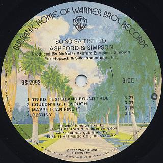Ashford & Simpson / So So Satisfied label