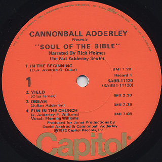Cannonball Adderley Presents Nat Adderley Sextet / Soul Of The Bible label