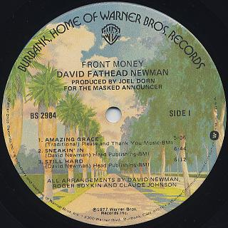 David Newman / Front Money label