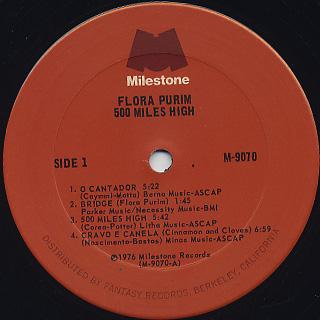 Flora Purim / 500 Miles High At Montreux label