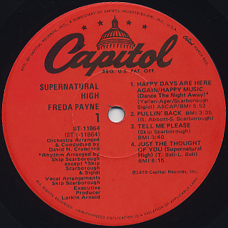 Freda Payne / Supernatural High label
