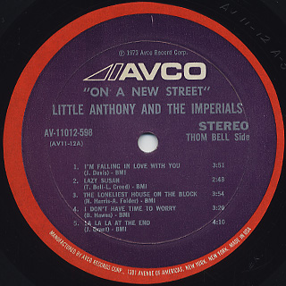 Little Anthony & The Imperials / On A New Street label
