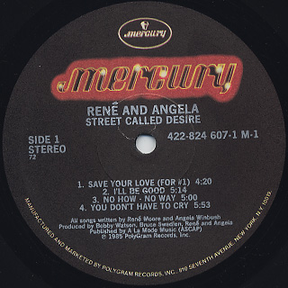 Rene And Angela / Street Called Desire label