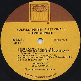 Stevie Wonder / Fulfillingness' First Finale label
