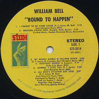 William Bell / Bound To Happen label