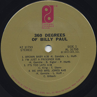 Billy Paul / 360 Degrees Of Billy Paul label