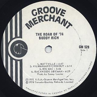 Buddy Rich / The Roar Of '74 label